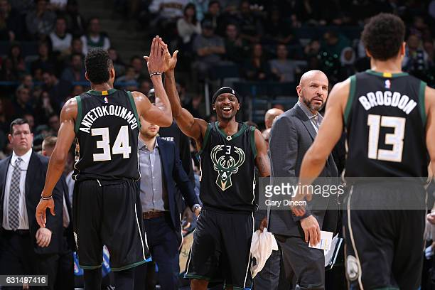 Giannis Antetokounmpo and Jason Terry of the Milwaukee Bucks highfive during a game against the New York Knicks on January 6 2017 at the BMO Harris...
