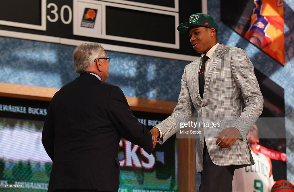Giannis Antetokounmpo of Greece greets NBA Commissioner David Stern after Antetokounmpo was drafted #15 overall in the first round by the Milwaukee Bucks during the 2013 NBA Draft at Barclays Center on June 27, 2013 in in the Brooklyn Bourough of New York City.
