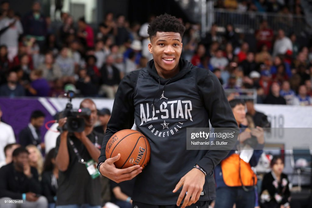 Giannis Antetokounmpo #34 of Team Stephen participates in the NBA All-Star practice as part of the 2018 NBA All-Star Weekend on February 17, 2018 at the Verizon Up Arena at the LACC in Los Angeles, California.
