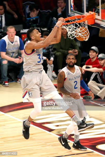 Giannis Antetokounmpo of the Eastern Conference AllStar Team dunks the ball during the NBA AllStar Game as part of the 2017 NBA All Star Weekend on...