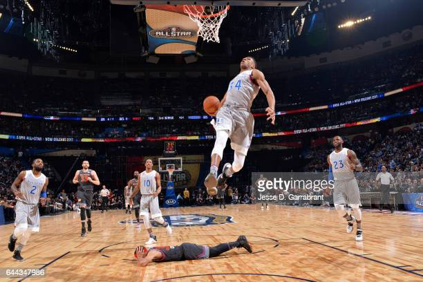 Giannis Antetokounmpo of the Eastern Conference AllStar Team dunks the basket against the Western Conference AllStar Team during the NBA AllStar Game...