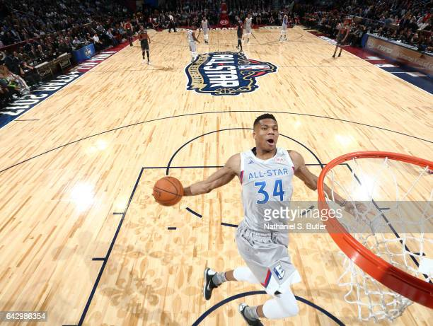 Giannis Antetokounmpo of the Eastern Conference AllStars dunks during the NBA AllStar Game as part of the 2017 NBA All Star Weekend on February 19...