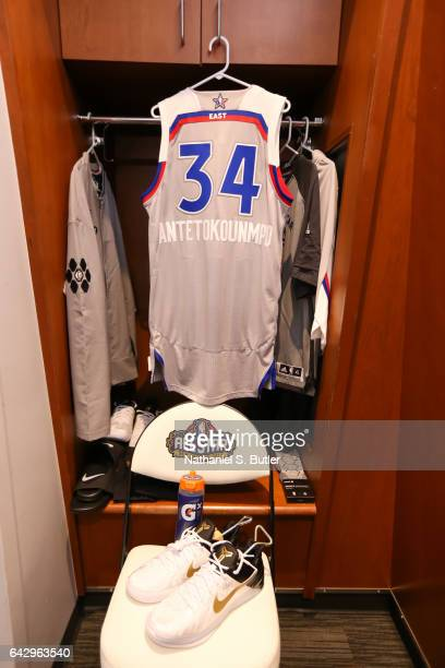 Giannis Antetokounmpo of the Eastern Conference AllStars jersey and sneakers during the NBA AllStar Game as part of the 2017 NBA All Star Weekend on...