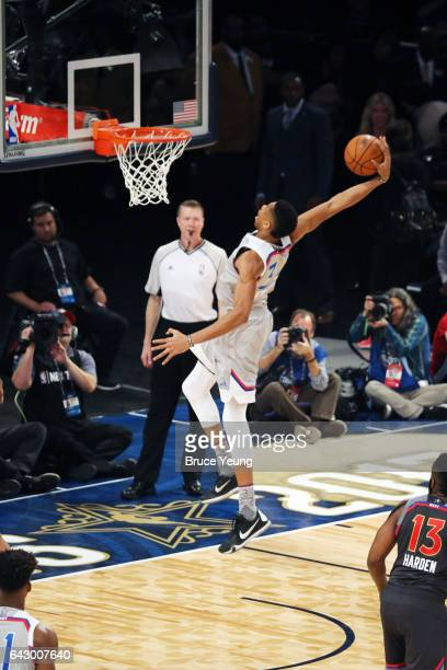 Giannis Antetokounmpo of the Eastern Conference dunks against the Western Conference during the NBA AllStar Game as part of the 2017 NBA All Star...