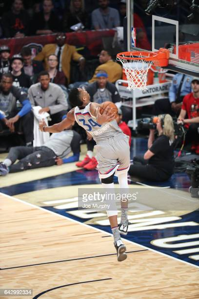 Giannis Antetokounmpo of the Eastern Conference dunks during the NBA AllStar Game as a part of 2017 AllStar Weekend at the Smoothie King Center on...