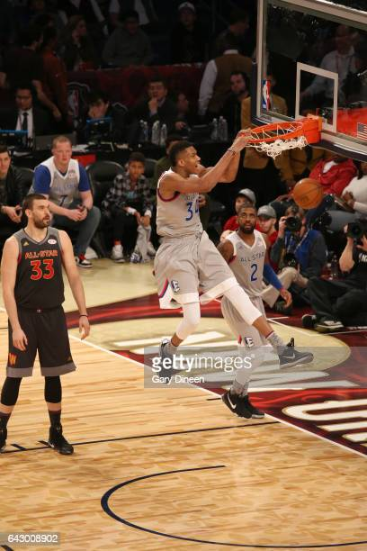 Giannis Antetokounmpo of the Eastern Conference dunks during the NBA AllStar Game as part of the 2017 NBA AllStar Weekend on February 19 2017 at the...