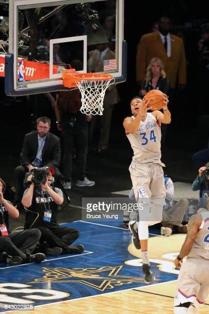 Giannis Antetokounmpo of the Eastern Conference dunks during the NBA AllStar Game as part of the 2017 NBA All Star Weekend on February 19 2017 at the...