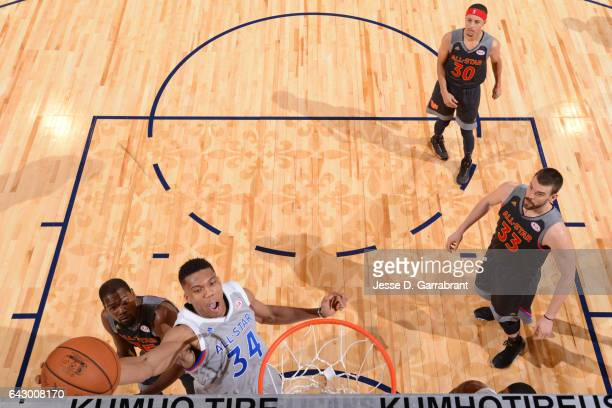 Giannis Antetokounmpo of the Eastern Conference dunks the ball during the NBA AllStar Game as part of the 2017 NBA All Star Weekend on February 19...