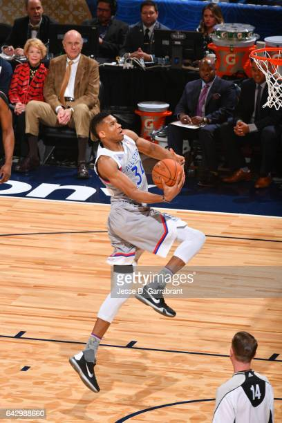 Giannis Antetokounmpo of the Eastern Conference goes up for a dunk during the NBA AllStar Game as part of the 2017 NBA All Star Weekend on February...