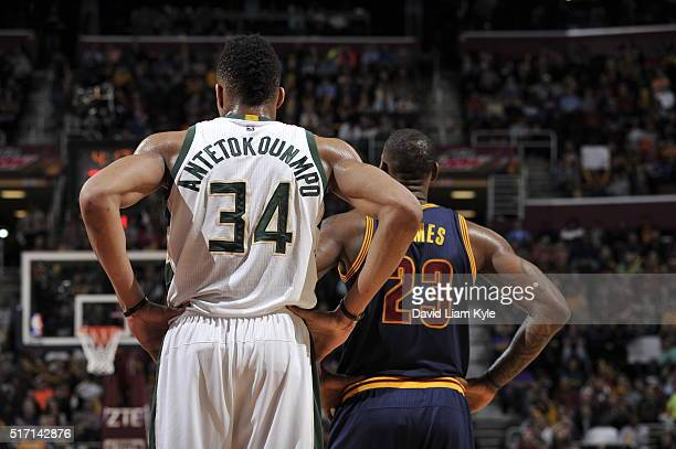 Giannis Antetokounmpo of the Milwaukee Bucks and LeBron James of the Cleveland Cavaliers are seen during the game on March 23 2016 at Quicken Loans...