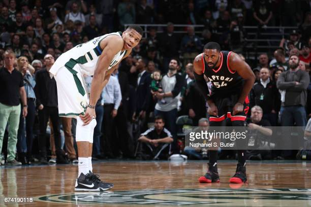 Giannis Antetokounmpo of the Milwaukee Bucks and Patrick Patterson of the Toronto Raptors look on during Game Six of the Eastern Conference...