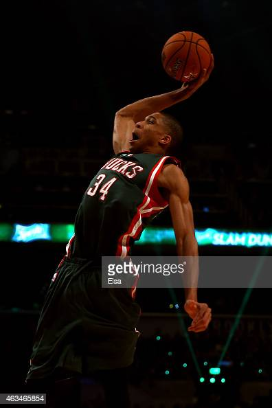 Giannis Antetokounmpo of the Milwaukee Bucks and the Eastern Conference competes during the Sprite Slam Dunk Contest as part of the 2015 NBA Allstar...