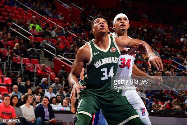 Giannis Antetokounmpo of the Milwaukee Bucks and Tobias Harris of the Detroit Pistons await the ball during the game on November 3 2017 at Little...