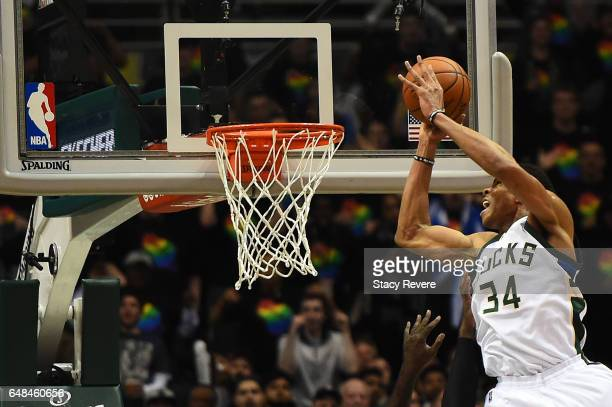 Giannis Antetokounmpo of the Milwaukee Bucks attempts a dunk against the Toronto Raptors during a game at the BMO Harris Bradley Center on March 4...