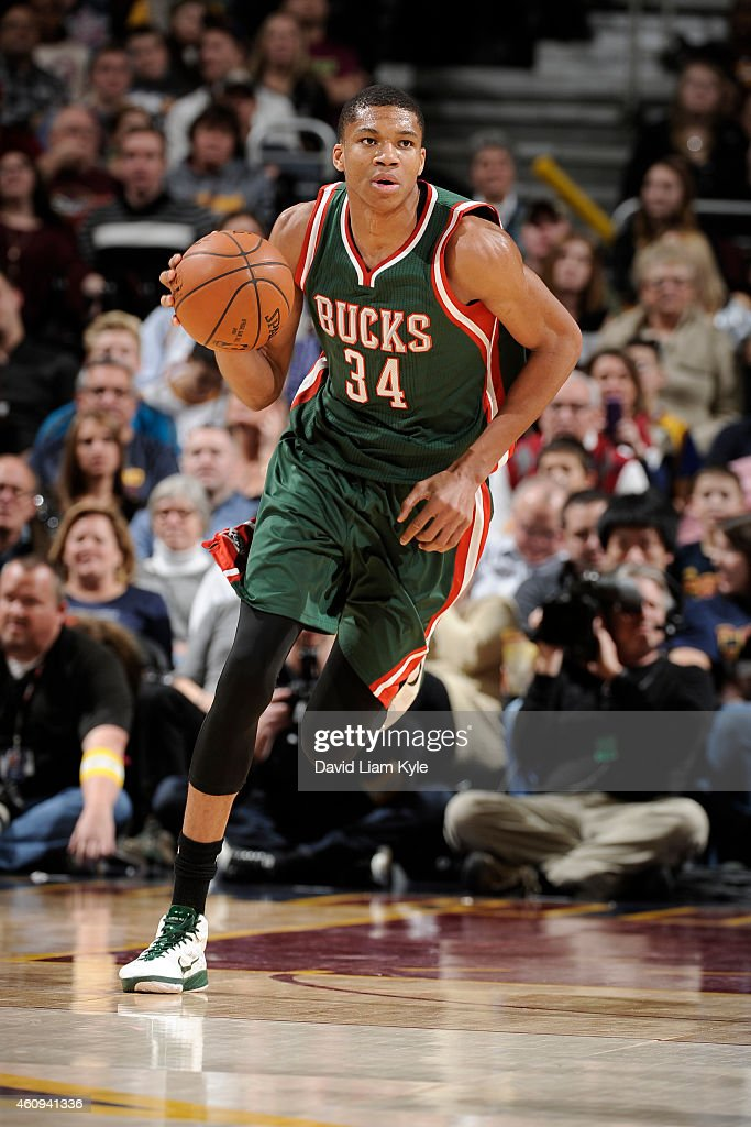 Giannis Antetokounmpo of the Milwaukee Bucks brings the ball up court against the Cleveland Cavaliers on December 31 2014 at The Quicken Loans Arena...