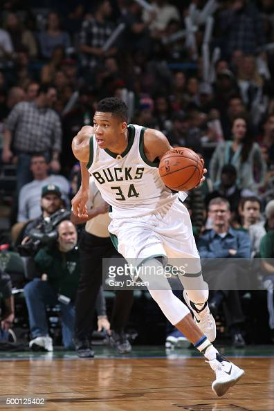 Giannis Antetokounmpo of the Milwaukee Bucks brings the ball up court against the New York Knicks on December 5 2015 at the BMO Harris Bradley Center...