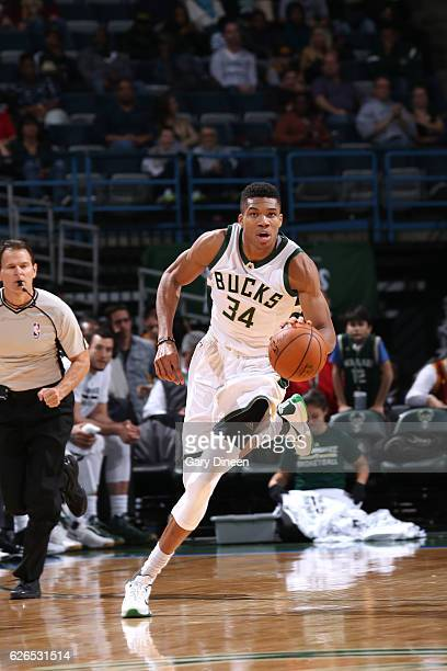 Giannis Antetokounmpo of the Milwaukee Bucks brings the ball up court during the game against the Cleveland Cavaliers on November 29 2016 at the BMO...