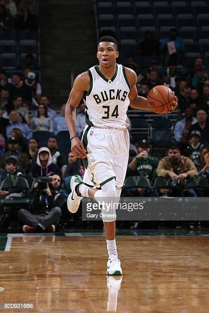 Giannis Antetokounmpo of the Milwaukee Bucks brings the ball up the court during a game against the Indiana Pacers on November 3 2016 at the BMO...