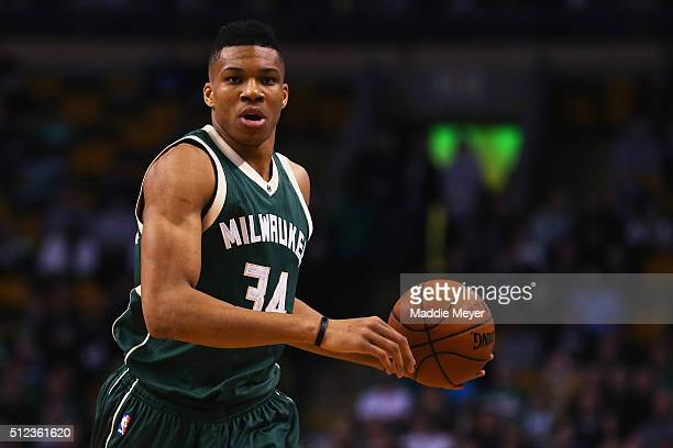 Giannis Antetokounmpo of the Milwaukee Bucks carries the ball against the Boston Celtics during the first quarter at TD Garden on February 25 2016 in...
