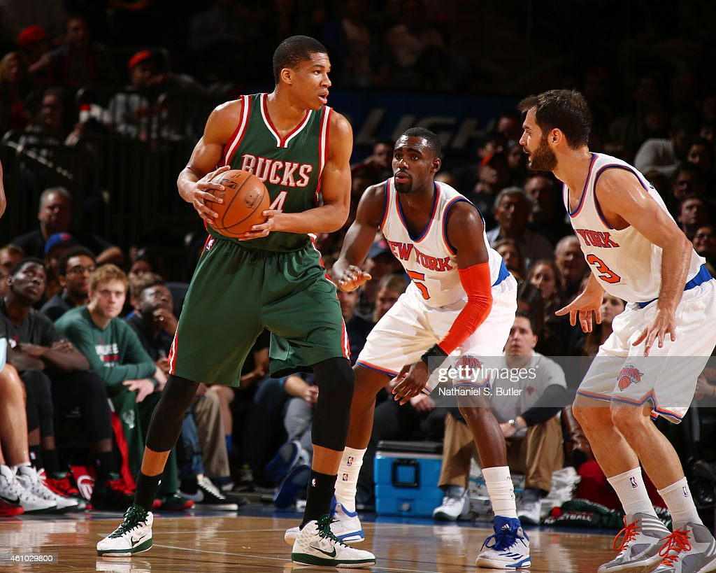 Giannis Antetokounmpo of the Milwaukee Bucks defends the ball against the New York Knicks during the game on January 4 2015 at Madison Square Garden...