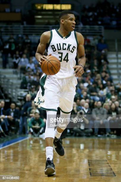 Giannis Antetokounmpo of the Milwaukee Bucks dribbles the ball in the second quarter in Game Six of the Eastern Conference Quarterfinals against the...