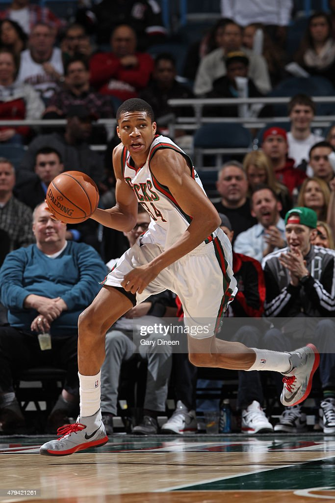 <a gi-track='captionPersonalityLinkClicked' href=/galleries/search?phrase=Giannis+Antetokounmpo&family=editorial&specificpeople=11078379 ng-click='$event.stopPropagation()'>Giannis Antetokounmpo</a> #34 of the Milwaukee Bucks dribbles the ball against the Orlando Magic on March 10, 2014 at the BMO Harris Bradley Center in Milwaukee, Wisconsin.