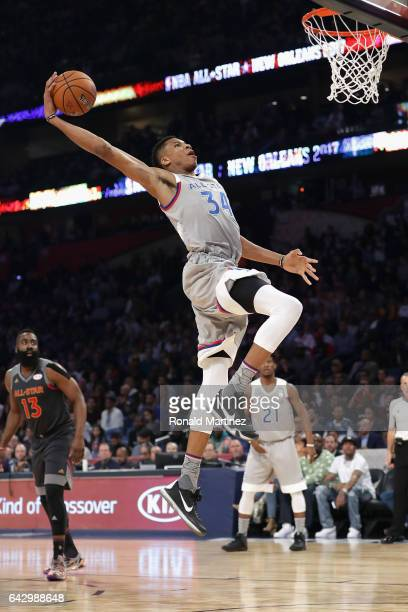 Giannis Antetokounmpo of the Milwaukee Bucks drives to the basket in the first half against the Western Conference AllStars during the 2017 NBA...