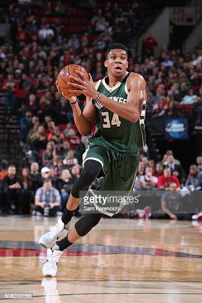 Giannis Antetokounmpo of the Milwaukee Bucks drives to the basket against the Portland Trail Blazers on February 2 2016 at the Moda Center Arena in...