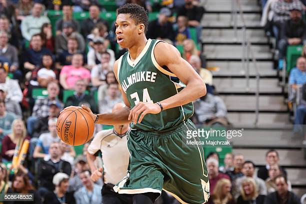 Giannis Antetokounmpo of the Milwaukee Bucks drives to the basket against the Utah Jazz during the game on February 5 2016 at Vivint Smart House...