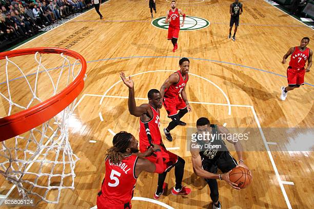 Giannis Antetokounmpo of the Milwaukee Bucks drives to the basket during the game against the Toronto Raptors on November 25 2016 at the BMO Harris...