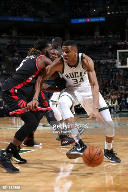 Giannis Antetokounmpo of the Milwaukee Bucks drives to the basket against the Toronto Raptors during Game Six of the Eastern Conference Quarterfinals...