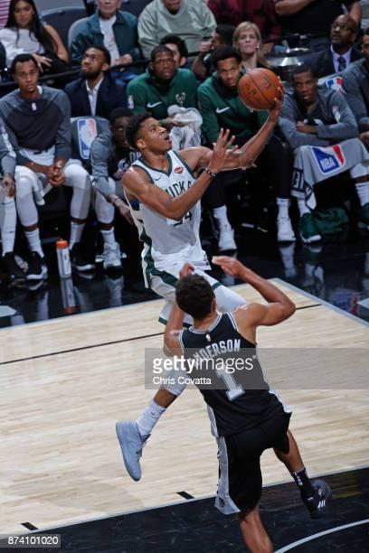 Giannis Antetokounmpo of the Milwaukee Bucks drives to the basket against the San Antonio Spurs on November 10 2017 at the ATT Center in San Antonio...