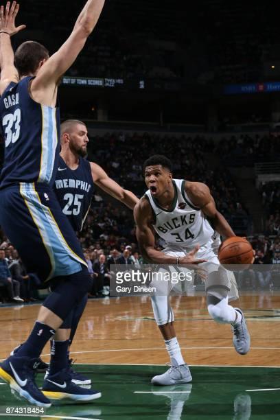 Giannis Antetokounmpo of the Milwaukee Bucks drives to the basket against the Memphis Grizzlies on November 13 2017 at the BMO Harris Bradley Center...