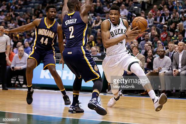 Giannis Antetokounmpo of the Milwaukee Bucks drives to the hoop during the first quarter against the Indiana Pacers at BMO Harris Bradley Center on...