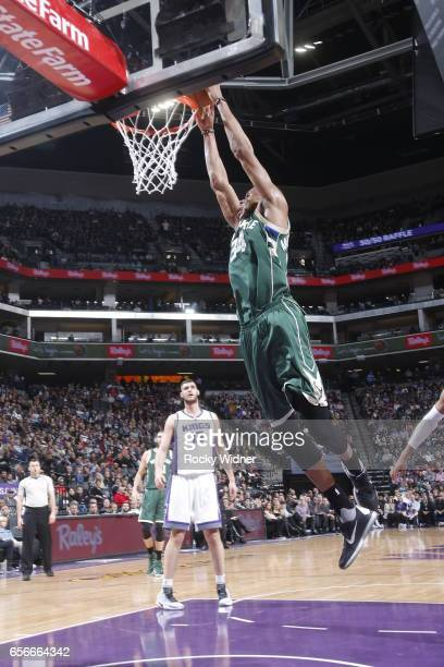 Giannis Antetokounmpo of the Milwaukee Bucks dunks against the Sacramento Kings on March 22 2017 at Golden 1 Center in Sacramento California NOTE TO...