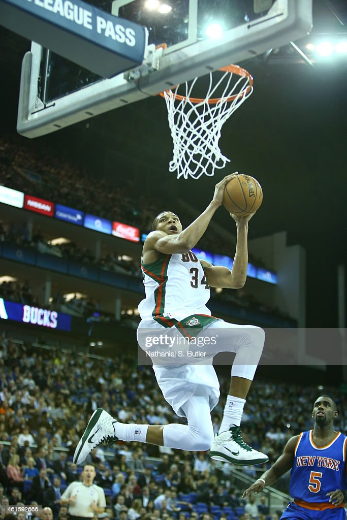 Giannis Antetokounmpo of the Milwaukee Bucks dunks against the New York Knicks as part of the 2015 Global Games on January 15 2015 at The O2 Arena in...