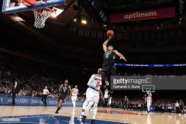 Giannis Antetokounmpo of the Milwaukee Bucks dunks against the New York Knicks on January 4 2017 at Madison Square Garden in New York NY NOTE TO USER...