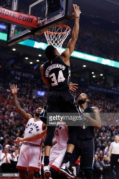 Giannis Antetokounmpo of the Milwaukee Bucks dunks against the Toronto Raptors on April 15 2017 during Game One of Round One of the 2017 NBA Playoffs...