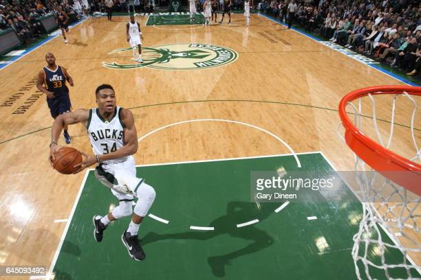 Giannis Antetokounmpo of the Milwaukee Bucks dunks against Utah Jazz on February 24 2017 at the BMO Harris Bradley Center in Milwaukee Wisconsin NOTE...