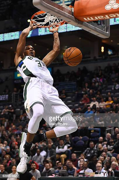 Giannis Antetokounmpo of the Milwaukee Bucks dunks during a game against the Philadelphia 76ers at BMO Harris Bradley Center on January 16 2017 in...
