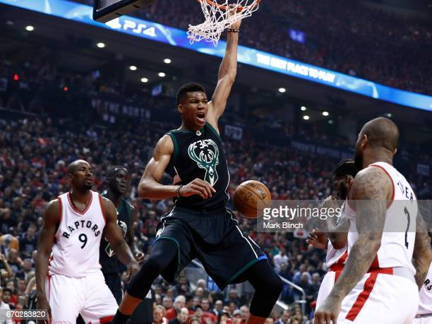 Giannis Antetokounmpo of the Milwaukee Bucks dunks the ball against the Toronto Raptors on April 15 2017 during Game One of Round One of the 2017 NBA...