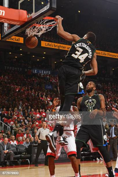 Giannis Antetokounmpo of the Milwaukee Bucks dunks the ball against the Toronto Raptors in Game Five of the Eastern Conference Quarterfinals during...