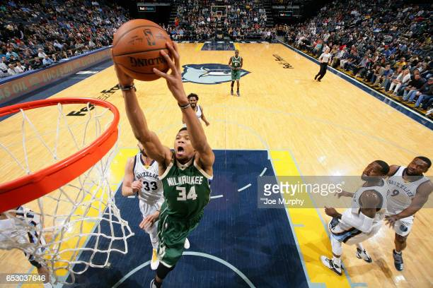 Giannis Antetokounmpo of the Milwaukee Bucks dunks the ball during the game against the Memphis Grizzlies on March 13 2017 at FedExForum in Memphis...