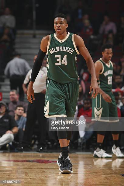 Giannis Antetokounmpo of the Milwaukee Bucks during the game against the Chicago Bulls during a preseason game on October 6 2015 at the United Center...