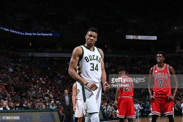 Giannis Antetokounmpo of the Milwaukee Bucks during the game against the Chicago Bulls on April 3 2016 at the BMO Harris Bradley Center in Milwaukee...