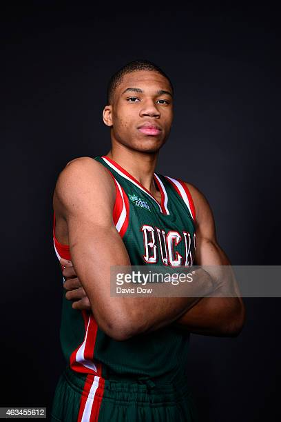 Giannis Antetokounmpo of the Milwaukee Bucks for the Sprite Slam Dunk Contest poses for a portrait prior to the 2015 State Farm AllStar Saturday...