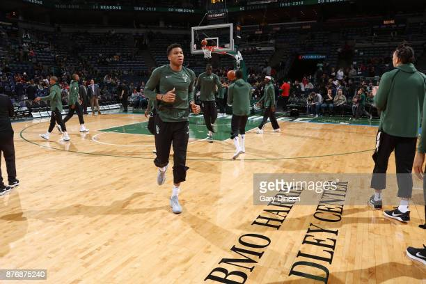 Giannis Antetokounmpo of the Milwaukee Bucks gets introduced before the game against the Washington Wizards on November 20 2017 at the BMO Harris...