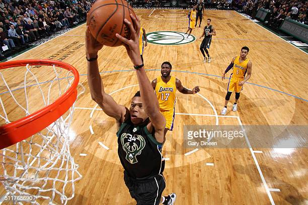 Giannis Antetokounmpo of the Milwaukee Bucks goes for the dunk during the game against the Los Angeles Lakers on February 22 2016 at the BMO Harris...