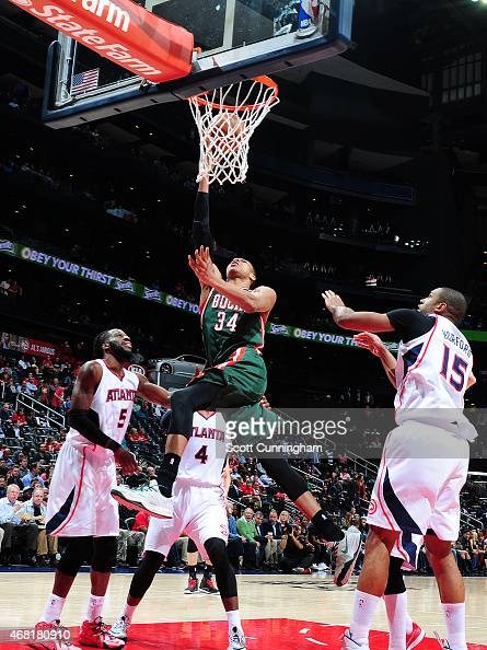Giannis Antetokounmpo of the Milwaukee Bucks goes for the layup against the Atlanta Hawks during the game on March 30 2015 at Philips Arena in...