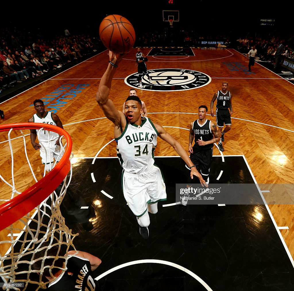 Giannis Antetokounmpo of the Milwaukee Bucks goes to the basket against the Brooklyn Nets on March 13 2016 at Barclays Center in the Brooklyn borough...